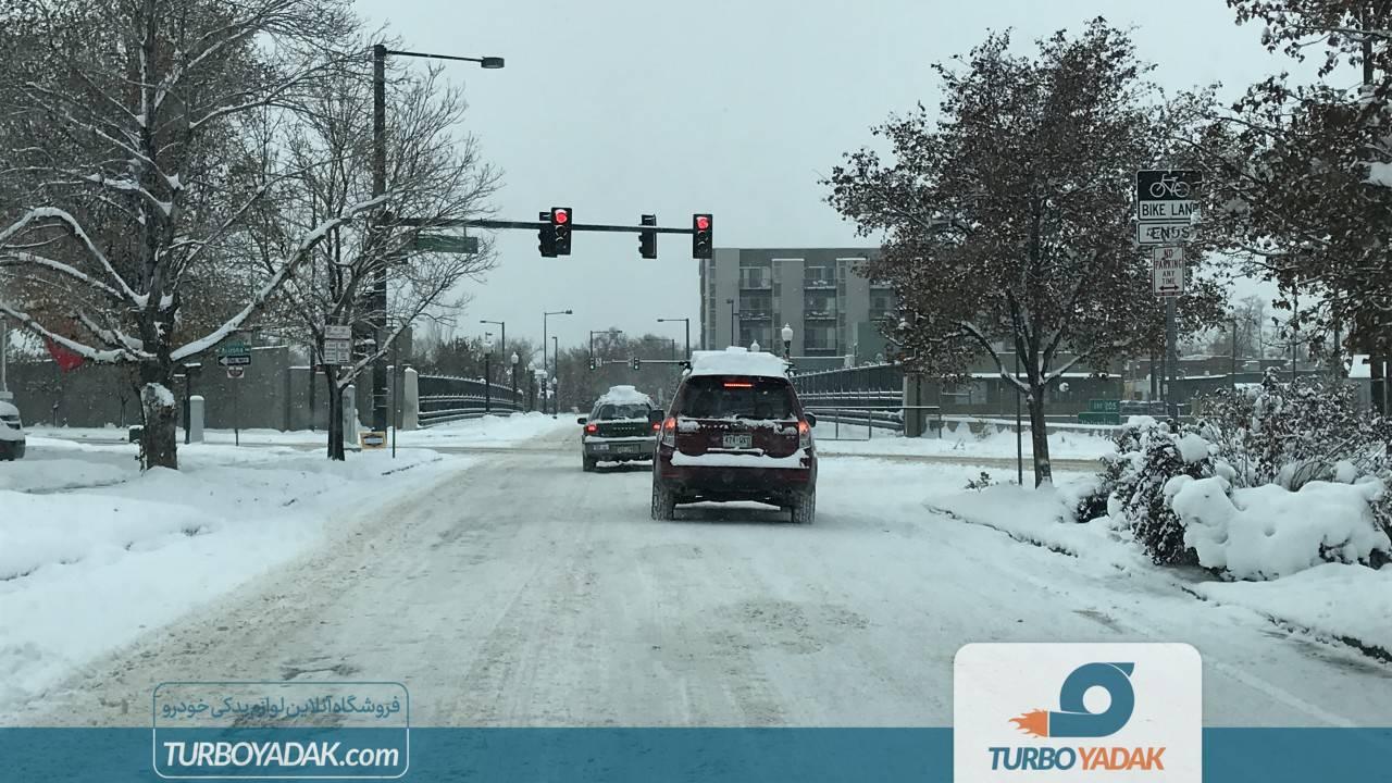 رانندگی در جاده یخ زده